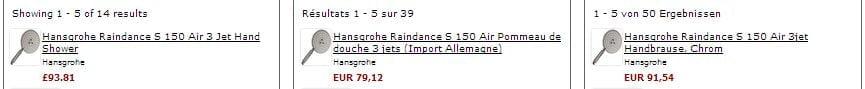 Hansgrohe Raindance S150 comparaison de prix
