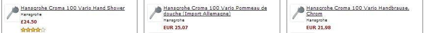 Hansgrohe Croma 100 comparaison de prix