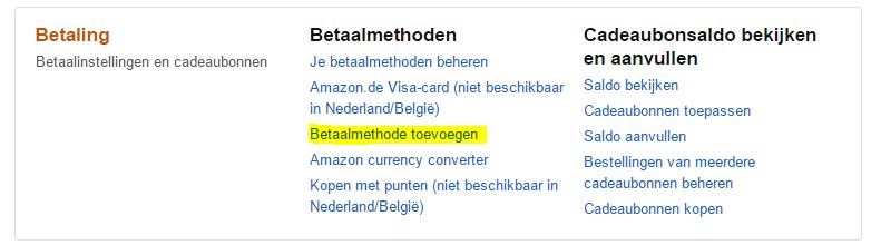 Betalen op Amazon via overschrijving